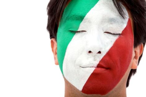 Italian flag portrait
